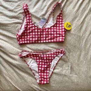 Pink gingham bikini set